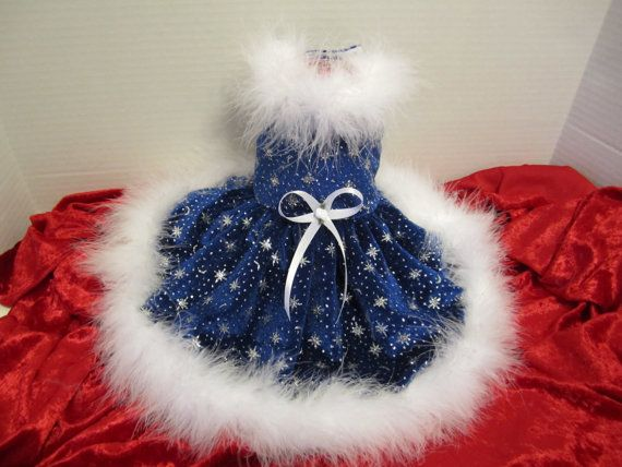 Christmas Dog Dress Small Blue with white by NinasCoutureCloset, $15.00