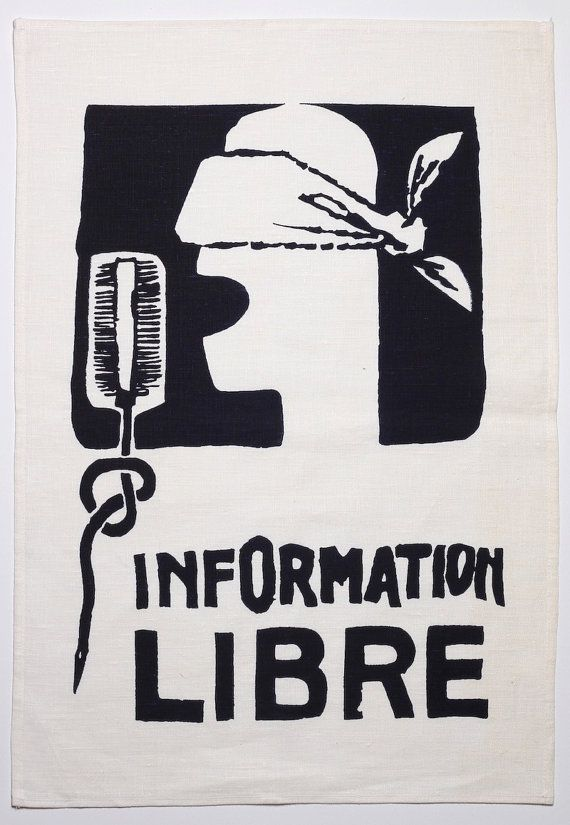 Information libre screenprinted tea towel   - image from the May-June '68 uprising in Paris, $18.00