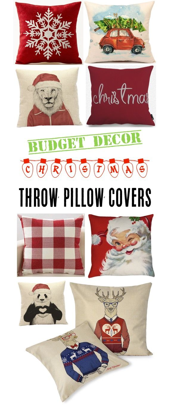 Christmas Decor DIY Ideas and Fun Decorations for the Home! These removable zipper covers are my favorite way to update throw pillows for the holidays!