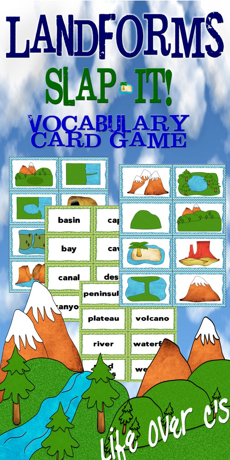 """""""Slap Jack""""-style review game for your landforms unit. Includes pictures, names and definitions for 24 different landforms. $"""