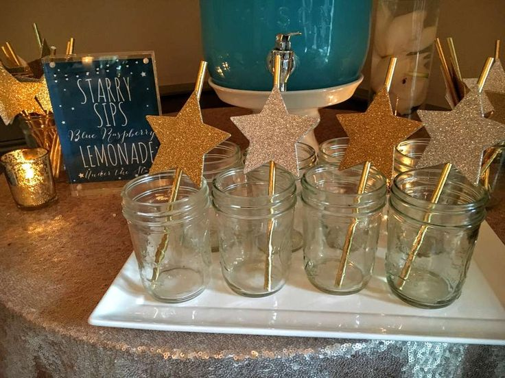 Aren't these mason jars with star decorated straws so cute? What a great idea at this Under the Stars Sweet 16 bash! See more party ideas and share yours at CatchMyParty.com