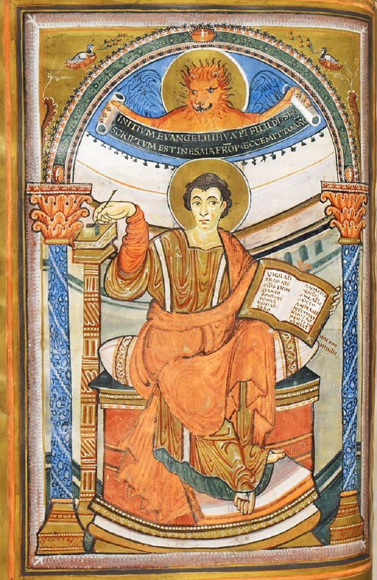 Saint Mark, from the Harley Golden Gospels, ca. 800-825 (British Library, British Museum, London)