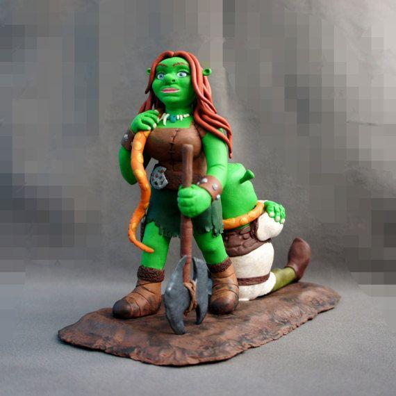 Shrek Wedding Cake Topper Shrek Party Unique от NatCakeToppers