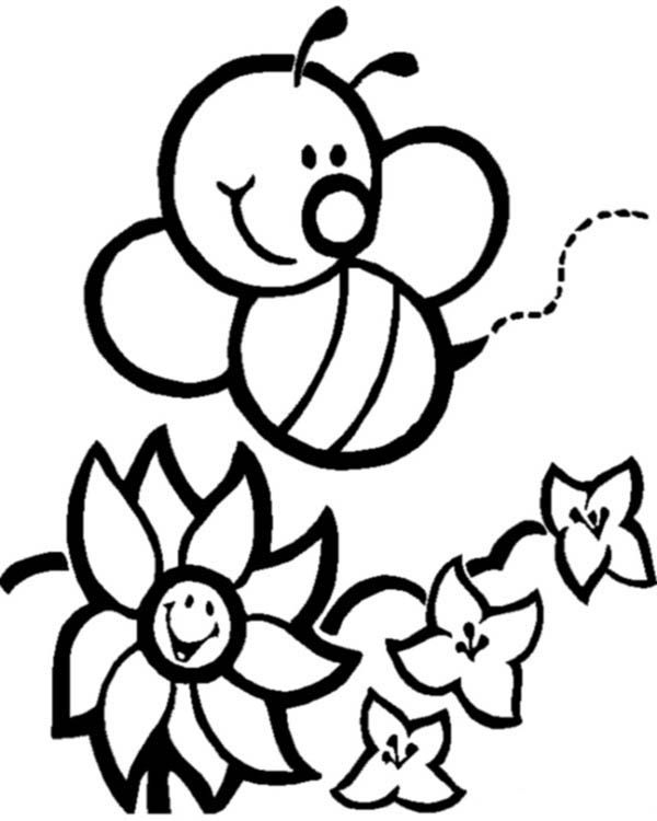 Bumblebee Happy Bumblebee And Flowers Coloring Page Bee Coloring Pages Butterfly Coloring Page Bee Printables