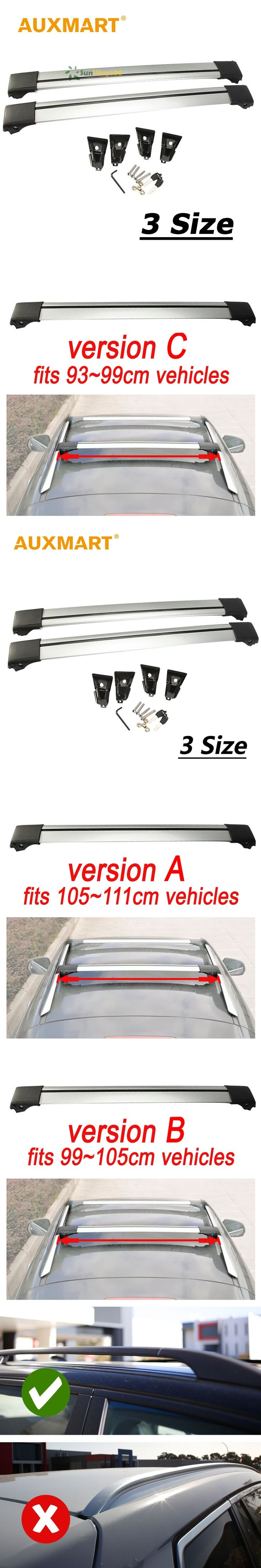 Auxmart Universal Car Roof Rack Cross Bar 93~111cm with Anti-theft Lock Auto Roof Rails Bars Load Cargo Luggage Carrier 70KG