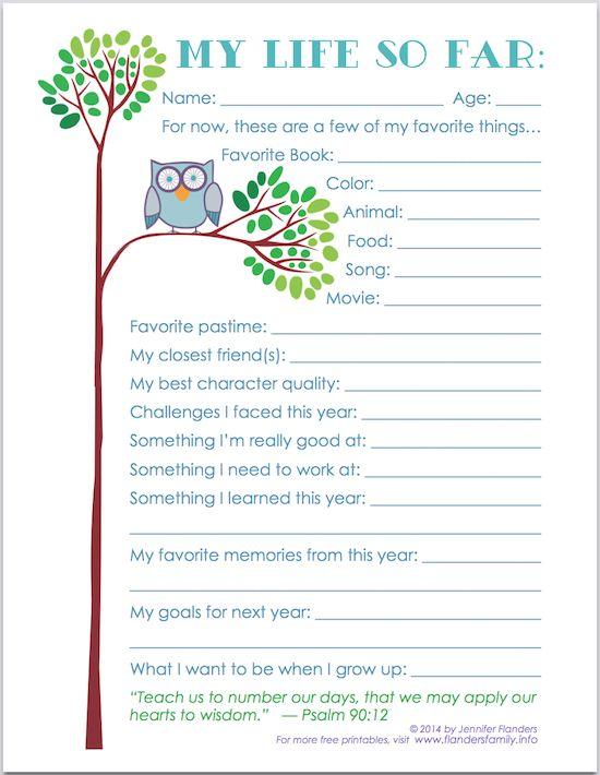 """My Life So Far"" - Free Printable Keepsake Record for Child's Scrapbook | www.flandersfamily.info"