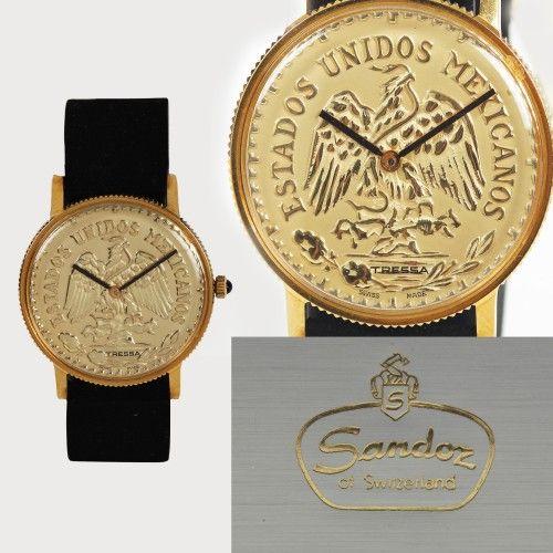 Ceas Tressa, de mână, comandă specială, placat cu aur, a aparținut lui Nicolae Ceaușescu, oferit cadou de statul Mexic, prin Ministrul de Interne Mario Moya Palencia, însoțit de certificat de autenticitate al RAPPS metal placat cu aur 10 microni, d=3,1 cm Valoare estimativă: € 4.500 - 6.500