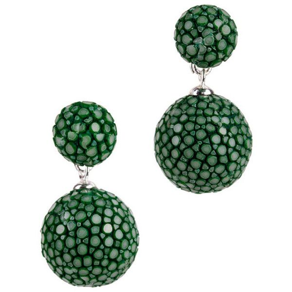 Rosie Sapin Green Stingray Leather Earrings by a cuckoo moment... (8,385 INR) ❤ liked on Polyvore featuring jewelry, earrings, green, leather jewelry, leather earrings, green earrings, green jewelry and earring jewelry