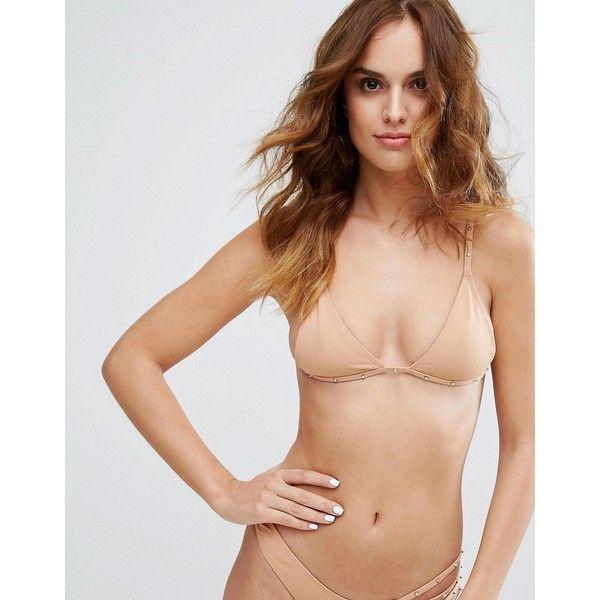 Minimale Animale Studded Triangle Bikini Top ($93) ❤ liked on Polyvore featuring swimwear, bikinis, bikini tops, beige, triangle swimsuit, triangle bikinis, triangle bathing suits and cut-out swimsuits