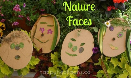 Nature faces- creating art in the garden (happyhooligans)