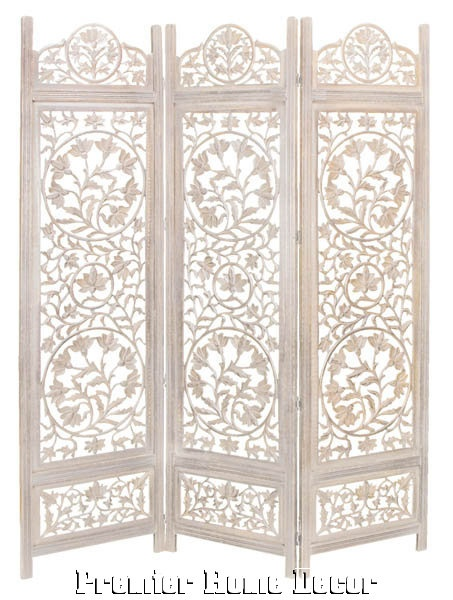 French Style Wood Room Divider 3 Panel Carved Screen Embossed Design