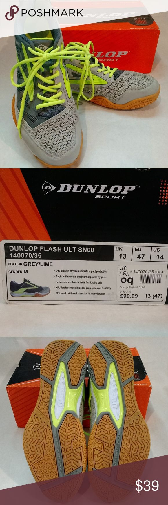 DUNLOP Ultimate Flash Squash Shoes US 14 UK 13 EUC Dunlop Flash Ultimate Squash Shoes LITE with D30 cushioning technology, designed to dissipate impact so you can maintain focus on your game, complete with the latest EXO MOTION non marking sole unit for dependable traction all game long.  > Lace-up > Supportive, shaped heel > Perforated upper > External heel counter > TPU midfoot shank > LITE by D30 Cushioning > Dunlop branding > EXOMOTION non marking sole unit > Upper: synthetic/textile…