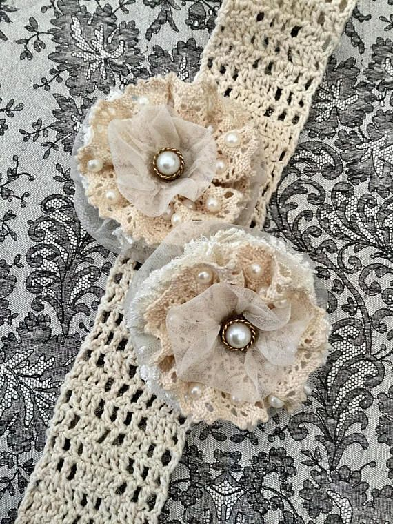 Shabby chic fabric flower Fancy fabric flower Handmade