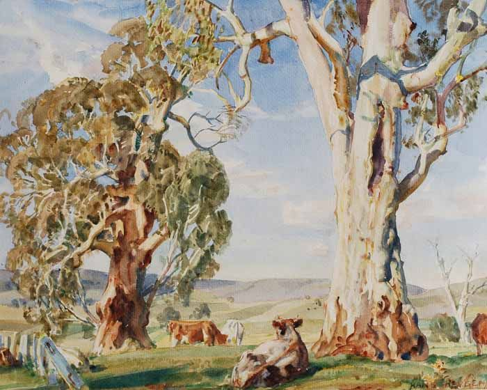 Gum Trees and Cattle by Sir Hans Heysen