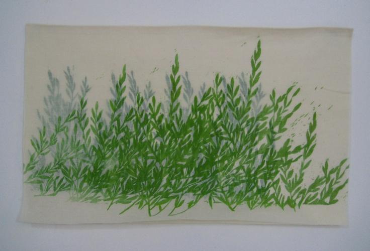 """Asako Hishiki - """"Le olive"""" Xilografia su tessuto 63x105cm"""