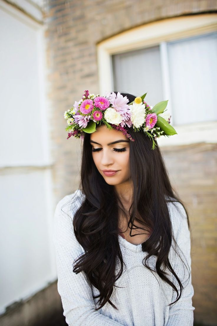 flower crown dark hair - Google Search