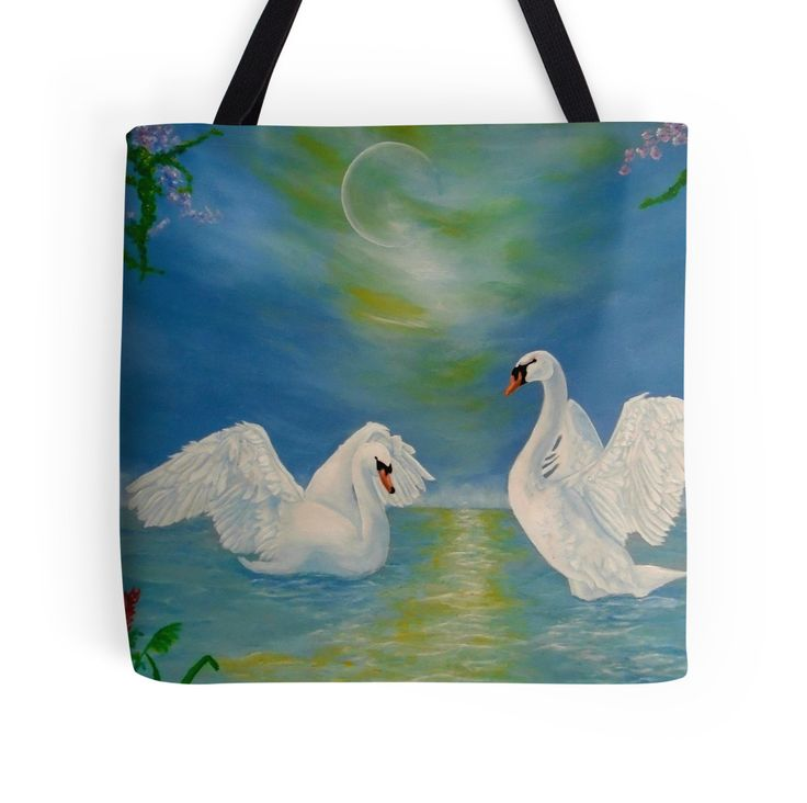 Tote Bag,   swans,blue,cool,beautiful,unique,trendy,artistic,unusual,accessories,for sale,design,items,products,ideas,redbubble