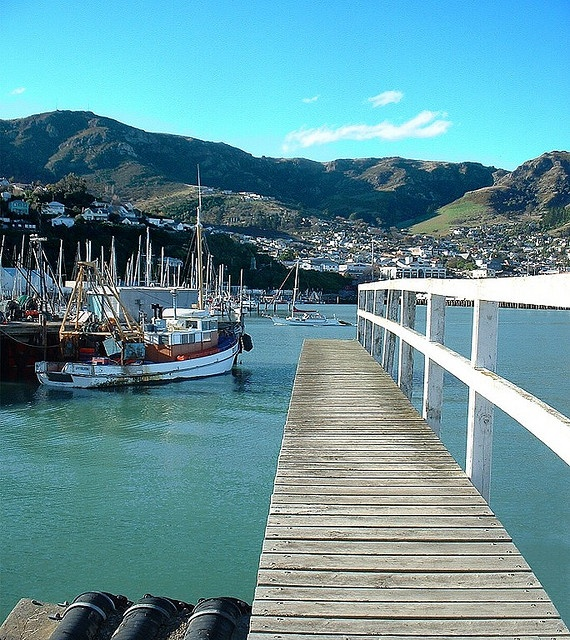 Lyttelton Village. The port of Christchurch, which is on the other side of The Port Hills in the background.