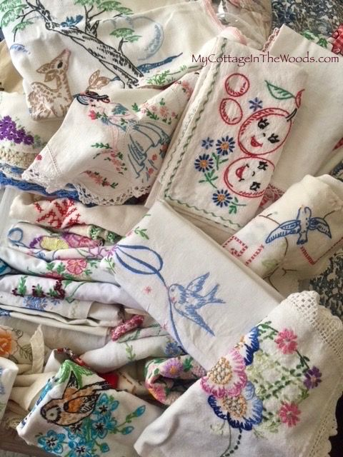 Vintage embroidered linens…one piece is as sweet as the next… My sister used to do this, made me a shirt with all kinda things I loved embroidered on it for me, I lived that shirt wore it even when it no longer fit me 😆 – Vikki Lybbert