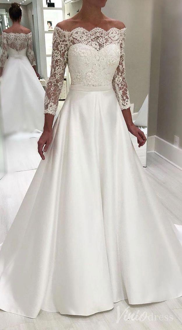 Lace Wedding Dress A Line Wedding Dress Weddingdresses Weddinggown Wedd Elegant Long Sleeve Wedding Dresses Wedding Dress Necklines Maxi Dress Wedding Guest