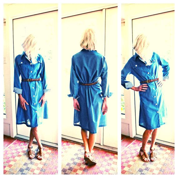 Vintage Miss Smith The American Look blue shirtdress gingham retro 1960's preppy Americana spring summer: medium