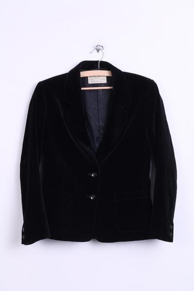 JAEGER London Womens 10 S Blazer Jacket Black Cotton To Fit Vintage - RetrospectClothes