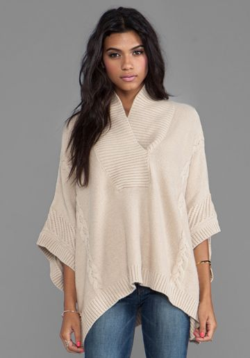 CENTRAL PARK WEST Whistler Poncho in Sand