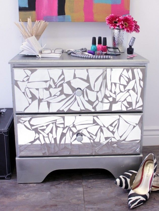 13 Amazing Ideas How to Reuse Your Broken Mirror -- glue broken pieces of mirror to your night stand -- cute way to avoid wasting :)