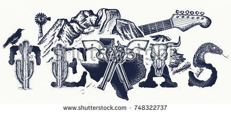 Texas tattoo and t-shirt design. Texas slogan. Mountains, revolvers, skull bison, cactus, guitar. American art. USA art, Symbol of prairies, wild west, blues music tattoo
