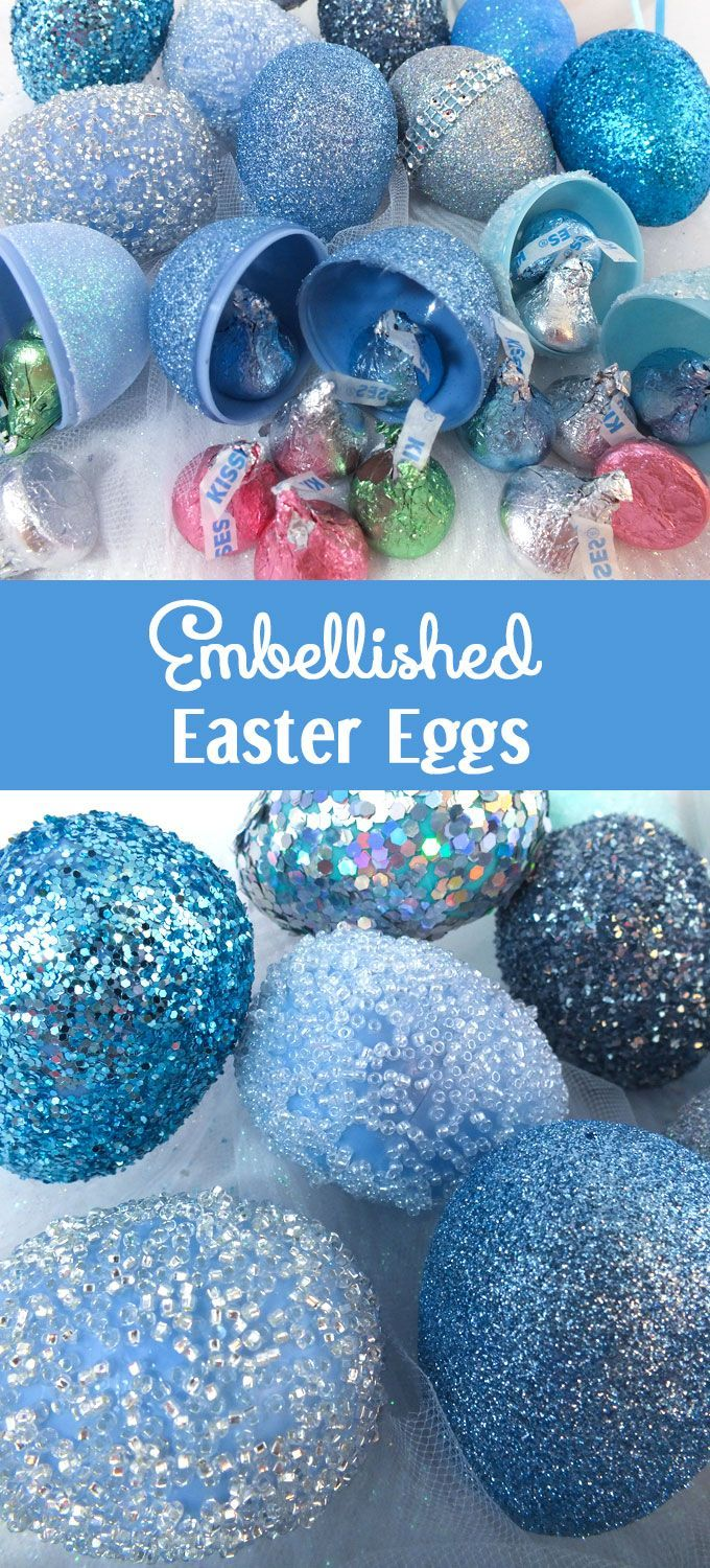 Take plastic Easter Eggs from Plain to Spectacular with this Super Simple Embellished Eggs tutorial ! So easy to do and they will be your Families' favorite Easter decorations !