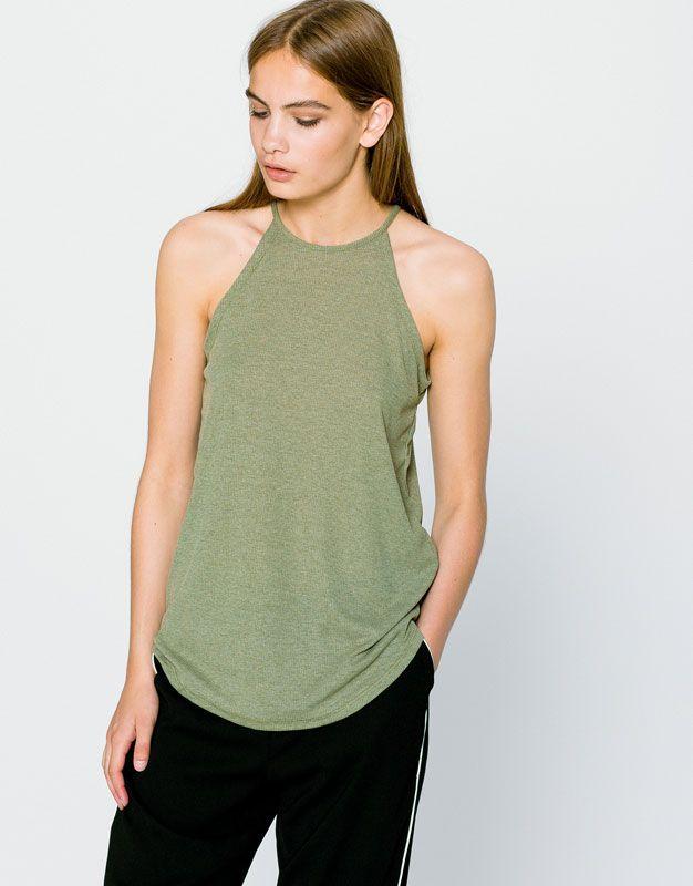Pull&Bear - woman - clothing - t-shirts - halter neck t-shirt - khaki - 09239374-I2016