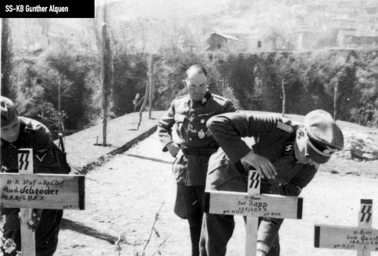 Sepp Dietrich overlooking the burial of his soldiers, Greece, 1941. KB-Alquen-030 - KB-Alquen-030.jpg
