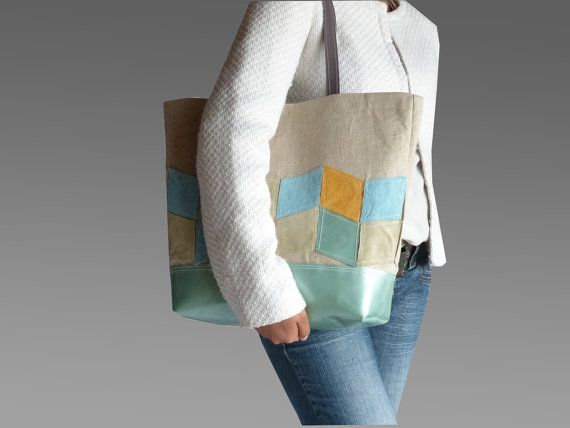 Tote bag leather geometric  applique  chevron medium by dawnaparis, €50.00