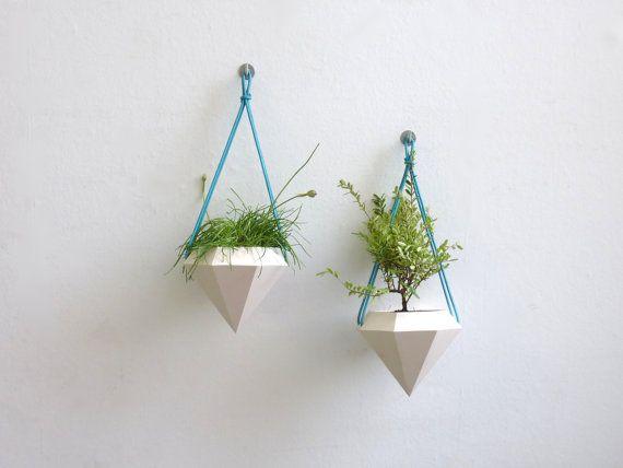 Diamond Hanging Planter Pair by RawDezign on Etsy, £50.00