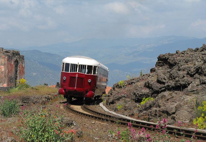 Circumetnea Railway - running from the seaside towns of Catania to Riposto via one heck of a scenic route around the snow-capped Mount Etna in Italy. littorine4