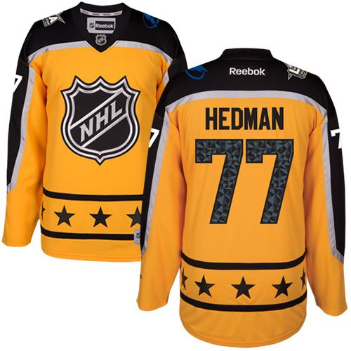 Men's Tampa Bay Lightning #77 Victor Hedman Yellow 2017 All-Star Atlantic Division Stitched NHL Jersey