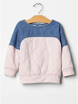 Quilted colorblock sweatshirt