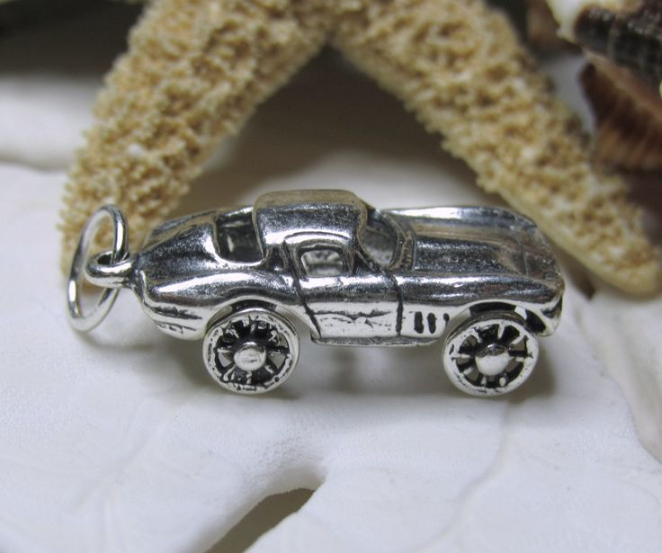 Sterling Silver Corvette Stingray Car Charm Movable  3D - pinned by pin4etsy.com