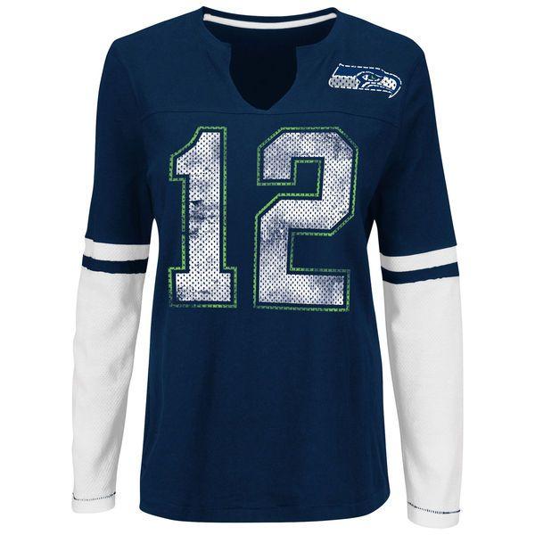 Seattle Seahawks Majestic Women's Kickoff Blitz Long Sleeve T-Shirt - Navy - $29.99