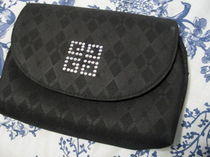 GIVENCHY Cosmetic Makeup Bag Classic Crystal Logo Vintage Clutch Accessory Blk #Givenchy #CosmeticBags