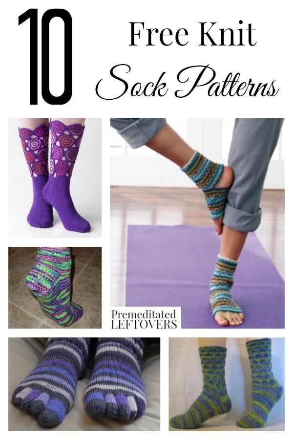 10 Free Knit Sock Patterns including 2 needle sock patterns, easy kit sock patterns for beginners, knit toe socks and knit yoga socks.