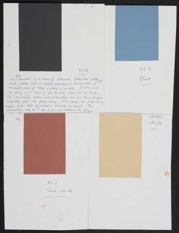 Gordon Walters, Colour swatches for Kura, circa 1982, acrylic on card,