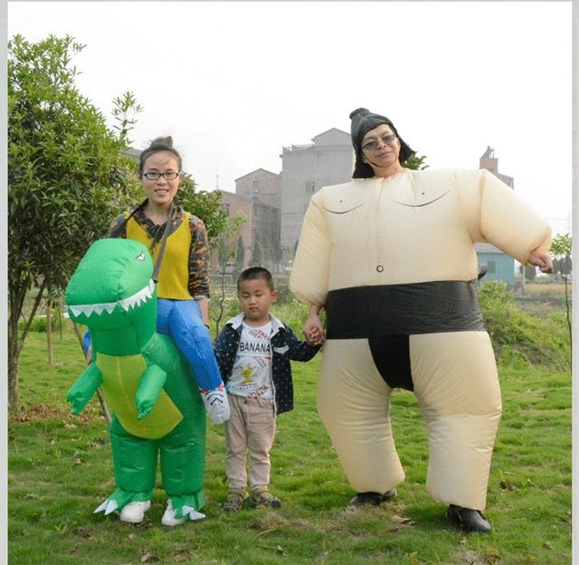 Hot Sale $19.99, Buy Halloween Costume for Women Inflatable Dinosaur Costume - Fan Operated Adult Kids Size Halloween Cosplay Animal Dino Rider T-Rex