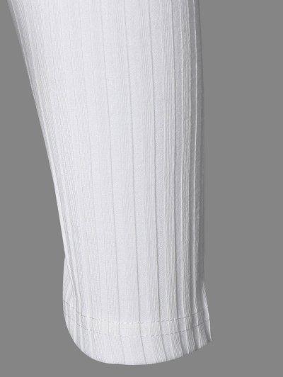 Cold Shoulder Crew Neck Knitwear - WHITE S Mobile