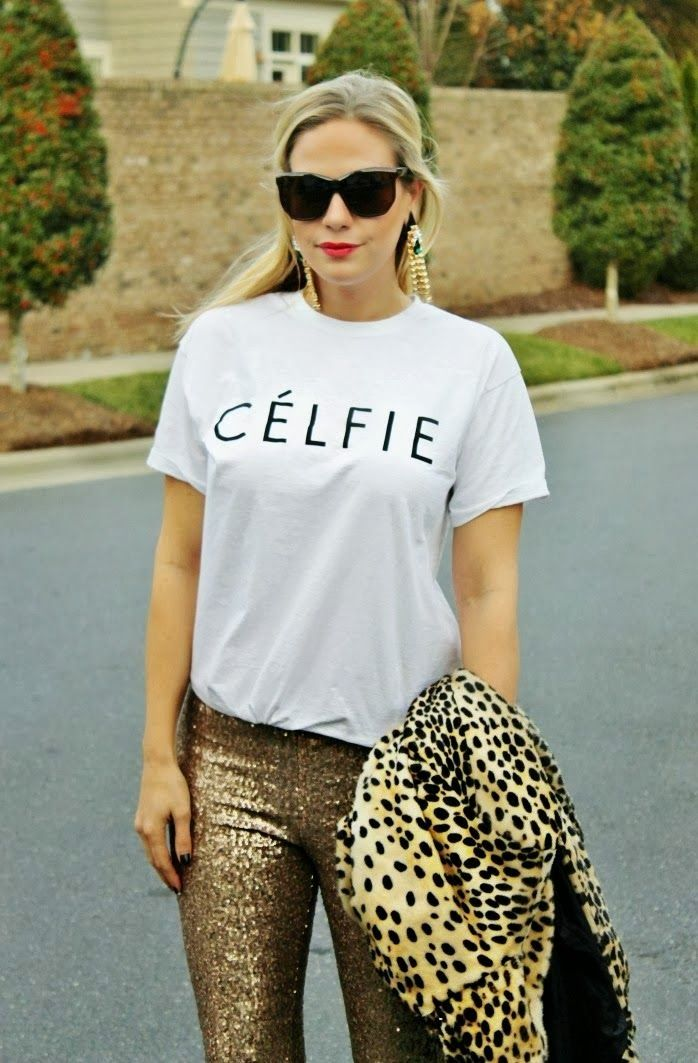 CELFIE Shirts With Sequined Golden Tights and Leopard Coat