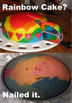 Rainbow cake  Nailed It! Best Pinterest Food Fails Of All Time – BoredBug