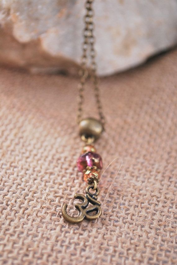 Ohm symbol necklace, bronze tone hippie pendant, glass bead necklace, everyday minimalist necklace, music festival necklace.
