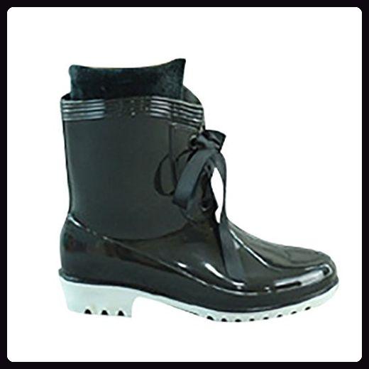 LvRao Damen Wasserdichte Hohe Stiefeletten Regen Schnee Schuhe Kurze Gummistiefel Boots Schwarz 38 - Stiefel für frauen (*Partner-Link)