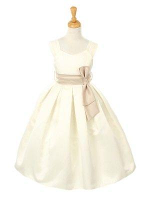 Ivory Pick Your Sash Satin Empire Flower Girl Dress $49.99 All Sizes - Flower Girl Dresses - GIRLS