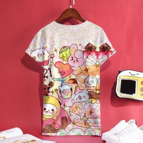 BTS BT21 Kpop 3D Print Anime Short Sleeve T-Shirt Women Cartoon T Shirt Top  Summer Fashion Femele Cotton Clothes 2cdbd0651